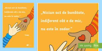 Acte de bunătate - Planșă motivațională - acte de bunătate, română, comportament, dezvoltare personală, materiale, planse motivaționale,