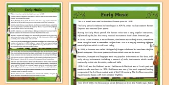 Early Music Information A4 Display Poster - Request KS2, Early Music, Middle Ages, Medieval Period, Guido d'Arezzo, stave, staff, Hildegard of
