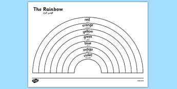 The Rainbow Colours Colouring Sheet Arabic Translation - arabic, rainbow, colours, colouring, sheet