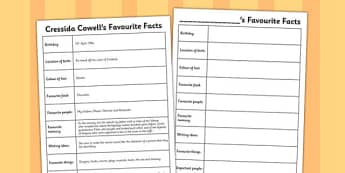 How to Train Your Dragon Favourite Facts Worksheet - Dragon, Train, Facts