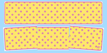 Yellow with Pink Stars Editable Display Banner - yellow, pink, display, banner, display banner, display header, themed banner, editable banner, editable