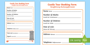 Medieval Castle Role Play Booking Form English/German - Castle, middle ages, EAL, German