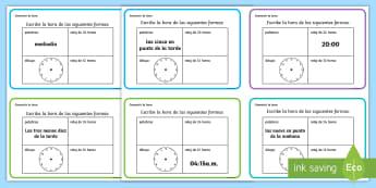 Tarjetas de desafío de matemáticas: Convertir la hora - la hora, el reloj, relojes, tiempo, horas, analógico, 12 horas, 24 horas, mates, matemáticas, medi