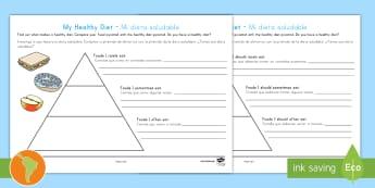Healthy Eating Food Pyramid Writing Activity US English/Spanish (Latin) - Healthy Eating Food Pyramid Writing Activity - healthy eating, healthy eating food pyramid, healthy