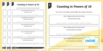 PlanIt Maths Y5 Number and Place Value Counting in Powers of Ten Home Learning Tasks