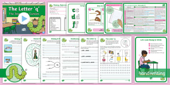 The Journey to Cursive: The Letter 'q' (Curly Caterpillar Family Help Card 8) KS1 Activity Pack - handwriting, Nelson handwriting, penpals, fluent, joined, legible, letterjoin,