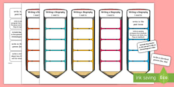 CfE Second Level Writing a Biography Editable Bookmarks - genres of writing, writing targets, Big Writing, Tools for writing, Pupil friendly writing checklist