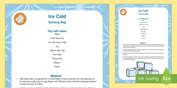 Ice Cold Concept Sensory Bag - Early Concepts, frozen, colour mixing, cold, hot, temperature