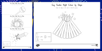 Guy Fawkes Night Colour by 2D Shape Worksheet / Activity Sheets