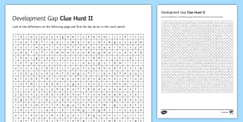 Development Gap Clue Hunt 2 - word,, search, ks4, gcse, economic