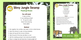 Slimy Jungle Swamp Playdough Recipe - Jungle and Rainforest, messy play, slime, swamp, playdoh, playdough