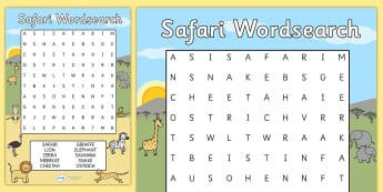 Safari Wordsearch - safari, safari wordsearch, safari games, safari activities, on safari, safari word games, safari key words, safari words