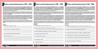 Crime and Punishment Differentiated Reading Comprehension Activity - reading, history, Victorian