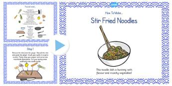 Stir Fried Noodles Recipe PowerPoint - stir fry, noodles, recipe