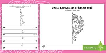 Taflen Weithgaredd Diwali Tynnwch Lun yr Hanner Arall o'r Llun  - Diwali, diwali, divali, rama and sita, Rama and Sita, RE, Addysg Grefyddol, Yearly Events, Dathliada