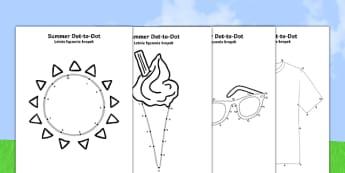 Summer Dot-to-Dots Polish Translation - polish, EYFS, Early Years, counting, fine motor skills, summer, holidays, dot-to-dot