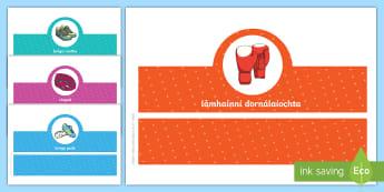 Sports Clothes Oral Language Headband Game Gaeilge - éadaí, gaeilge, irish, teanga, ag caint, cluichí teanga, spórt,Irish