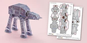Sci-Fi Walker Paper Model Printables - Enkl, arts, crafts, activity, adult, home, decor, designer, designer, decoration, interior, project, printable, cute, simple, paper, models, 3D, shape, colour, geek, clean, sci fi, walker, star wars, force, may