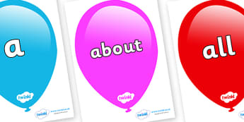 100 High Frequency Words on Balloons - High frequency words, hfw, DfES Letters and Sounds, Letters and Sounds, display words