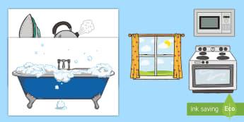 Cornel Cartref, Lluniau Chwarae Rôl i'w torri allan - cegin, kitchn, bedroom, ystafell wely, bathroom, ystafell ymolchi, popty, ffwrn, oven, microdon, mic