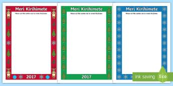 Christmas Greeting Frames Te Reo Māori/English - Xmas, Meri Kirihimete, Props, Photos, Craft, Gifts, Christmas, Maori