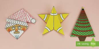 Simple 3D Christmas Origami Pack Paper Craft English/Romanian - origami, paper craft, christmas, wet playtime, EAL, christmas tree, santa, angel