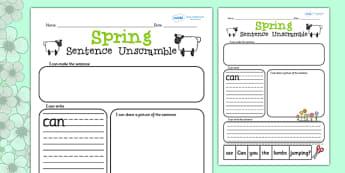 Spring Sentence Unscramble Worksheets - spring, sentence, game