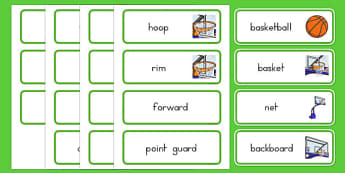 Basketball Vocabulary Cards - usa, nba, basketball, national basketball association, vocabulary cards