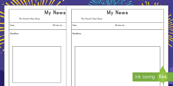 My News Writing Template  - New Year, writing, template, resolutions