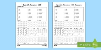 Spanish primary resources mfl spanish spain spanish numbers 1 30 how many activity sheet m4hsunfo