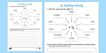 Adding 'ly' Spelling Activity - activities, spellings, spell