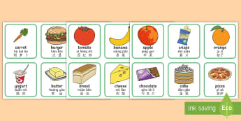Healthy And Unhealthy Sorting Activity English/Mandarin Chinese/Pinyin - Healthy And Unhealthy Sorting Activity - food, sorting card, flashcards, sort, healthy, unhealthy, a