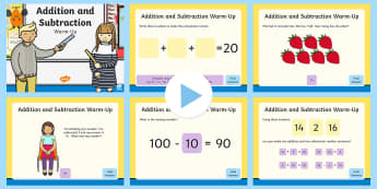 Year 2 Addition and Subtraction Warm-Up PowerPoint - Read, write and interpret mathematical statements involving addition, subtraction and equals signs,