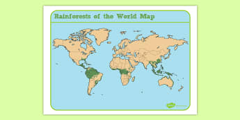 Jungles and Rainforests Of the World Map - geography, location