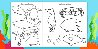 Cut-Out Sea Creature Templates (Under the Sea) - creatures, under the sea, template