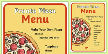 Pizza Shop Role Play Menu - pizza, pizza shop, pizza deliverer, menu,make your own pizza, ingredients, list, slice, base, sauce, cheese, making pizza, italian, Italy