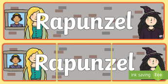 Rapunzel Display Banner (Indoor) - Rapunzel, prince, witch, tower, long hair, fairytale, traditional tale, Brothers Grimm, tower, woods, forest, prince, let down your hair, story, story sequencing, banner, display