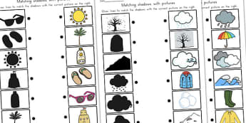 Winter Shadow Matching Worksheet Temperate - matching, seasons