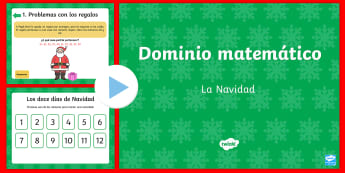 * NEW * Dominio matemático   La Navidad Presentación - navidad, matemáticas, desafío matemático, presentación, ppt, powerpoint, español,