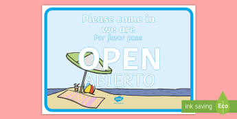 Travel Agents Open Role-Play Signs - English / Spanish - Inglés / Español-Spanish-translation - Travel Agents Open Sign - Travel agent, holiday, travel, role play, open, closed, Opening Times, ope