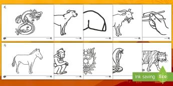 中国新年主题涂色练习 - 中国新年,涂色练习,龙,灯笼,福饼,山羊,马,十二生肖