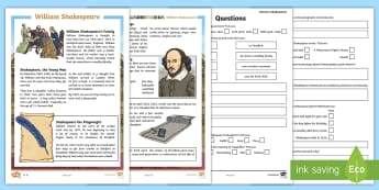 KS2 William Shakespeare Differentiated Comprehension Go Respond  Activity Sheets - William Shakespeare, William, Shakespeare, fact file, comprehension, Go Respond, facts