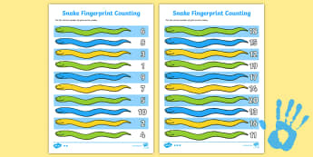 Snake Fingerprint Counting Activity Sheet Pack - EYFS activities, number, maths, finger prints, EAD, safari, savannah, zoo, jungle, Africa, worksheet
