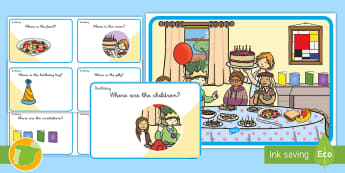 Birthday Party Preposition Game: Scene and Question Cards  - prepositions, questions, game, cards, preguntas y respuestas, preposiciones, inglés, preposiciones