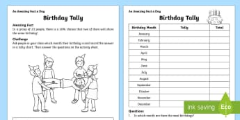 Birthday Tally Worksheet / Activity Sheet