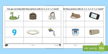 Split Digraph Activity Sheet - AE or IE Split Digraph Worksheet - worksheets, worksheet, AE, IE AE and IE sounds, AE sound, IE soun