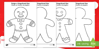 Gingerbread Man Colouring Pages English/Spanish - colouring, sheets, fine motor skills, gingerbread man, ginger bread man, ginger bread people, ginger