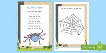 Incy Wincy Spider Worksheet / Activity Sheet - NZ Literacy Resources, Year 1-3, nursery rhymes, New Zealand, activity, worksheet, activities, readi