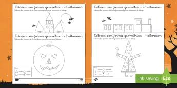 Halloween Colorea por forma geométrica-Spanish