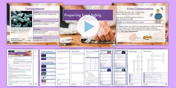 Preparing Food Safely Lesson Pack - food poisoning, cross-contamination, bacteria, hygiene, kitchen precautions